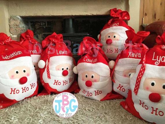 3D Personalizzato Bambini Natale Calza Babbo Natale o pupazzo di neve ricamato d/'oro nome