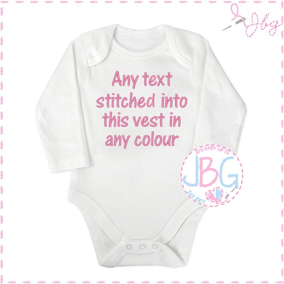 Personalised Baby Vest, Embroidered long sleeve Onsie, any wording, Fun gift for a new baby, or baby shower