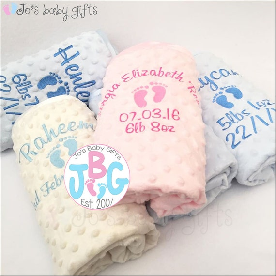 Personalised embroidered luxury baby bubble blanket with elephant and a name