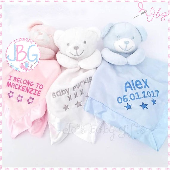 Personalised Baby Comforter, Teddy Bear Comfort blanket, New baby gift, baby boys and girls snuggle teddy, silk backing, teddy bear, blanket