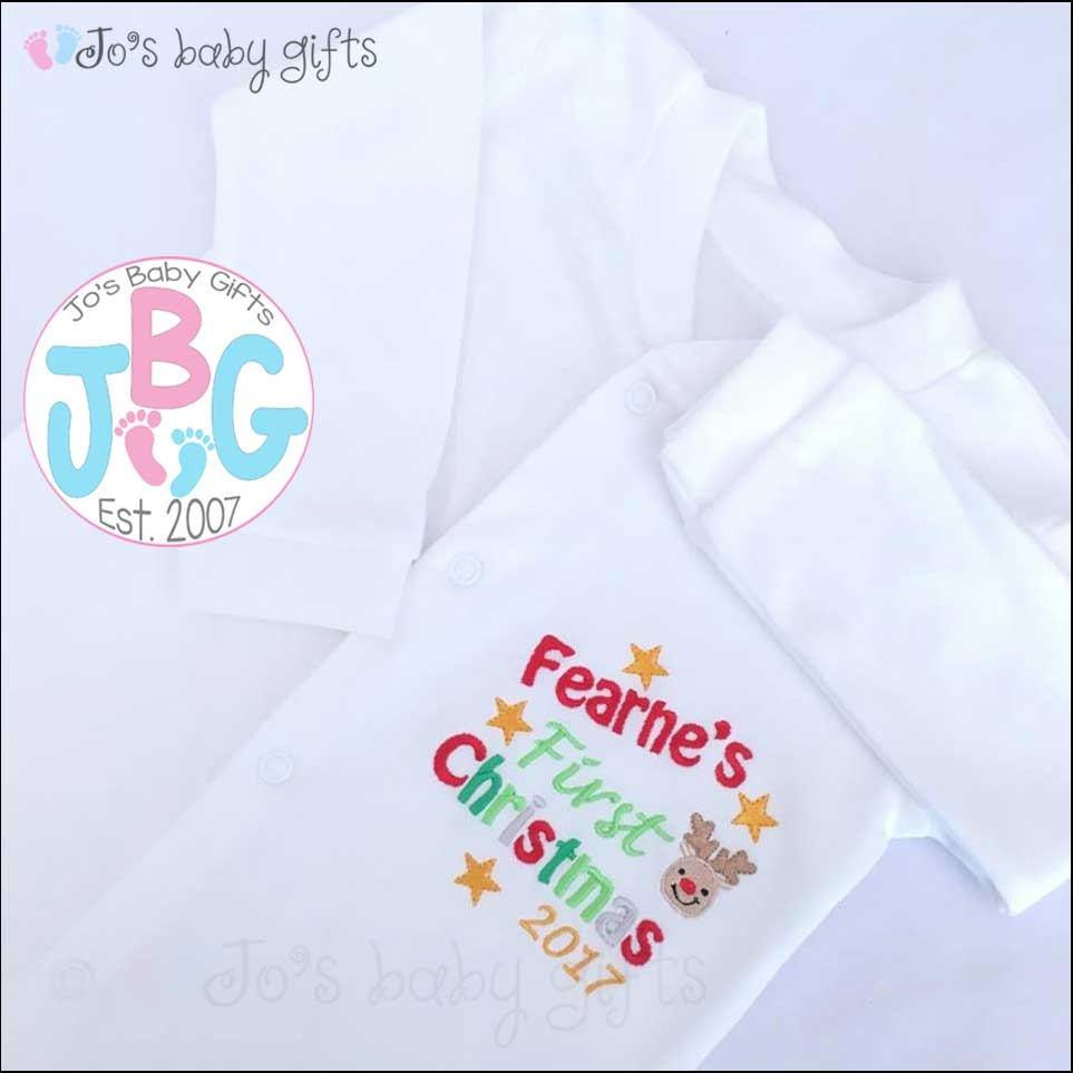Personalised Baby Christmas Sleepsuit / BabyGrow, First christmas ...
