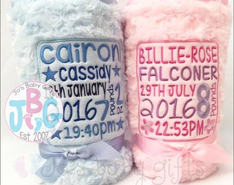 Personalised Baby Blanket, Personalised Blankets, Embroidered Blankets, New baby gift, Birth Stats Gift, Christening Gift, Baby Boy or Girl