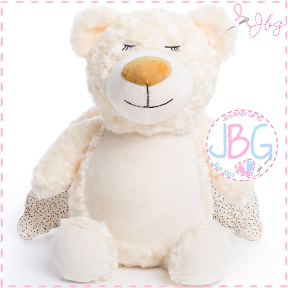 Cubbies Angel Bear, Personalised Embroidered Angel Teddy Bear, Personalised Stuffie, Great birthday gift, Signature Range
