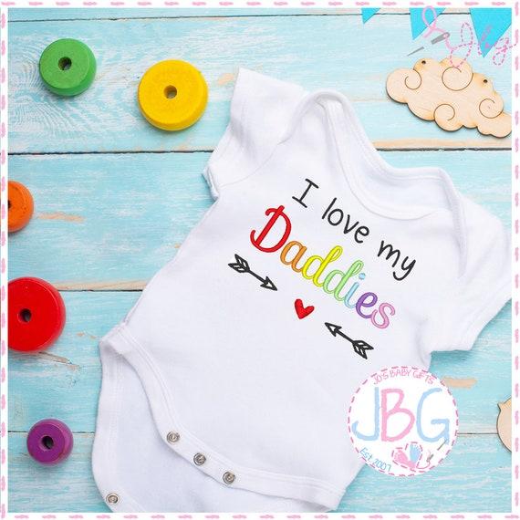 I love my Daddies - Embroidered LGBT Baby Vest - Gay Pride - I love my 2 Daddies - Rainbow