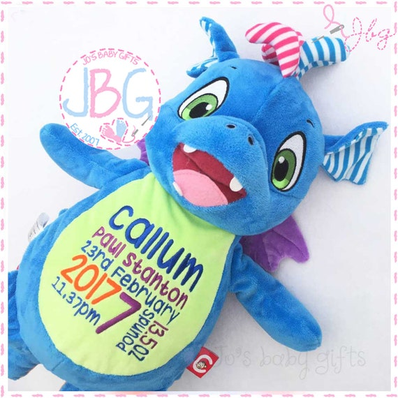 Personalised Embroidered Dragon, Official Cubbies Teddy Bear, Personalised Stuffie, Great birthday gift, Signature Range