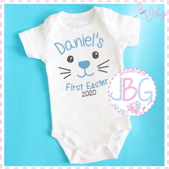Personalised 'First Easter' Baby Boys Vest - Embroidered Bodysuit - Fun Gift for 1st Easter - Baby Grow