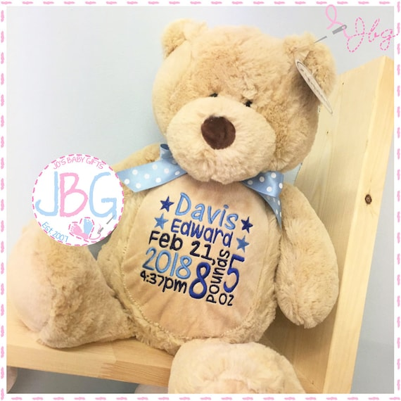 Personalised Embroidered Teddy Bear, Classic Brown teddy, New baby Gift/Keepsake, Plush soft toy, Luxury gift