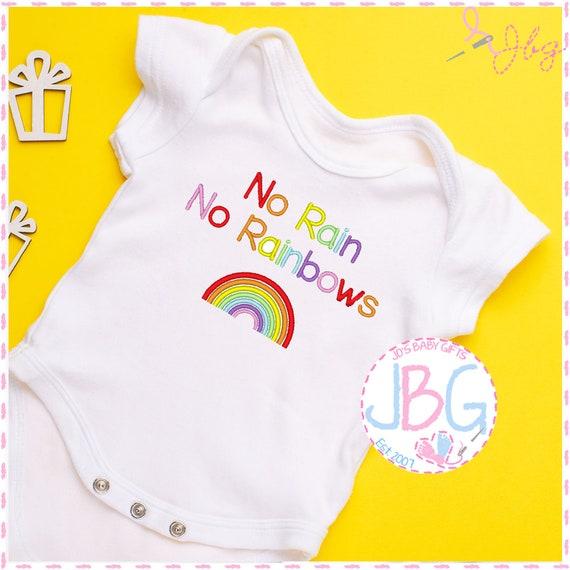 No Rain No Rainbows - Unisex Embroidered Vest - Bodysuit -Baby Grow - Pregnancy Announcement - Rainbow Baby