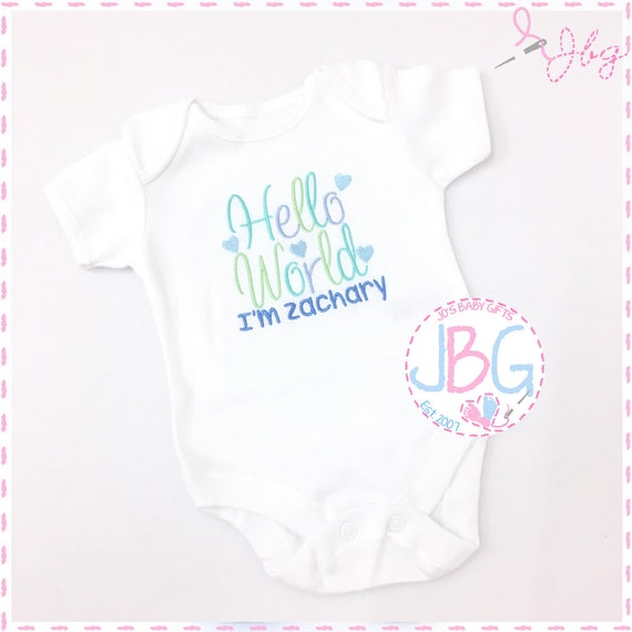 Personalised Baby Boys Hello World Vest. Embroidered New Baby Clothing onsie