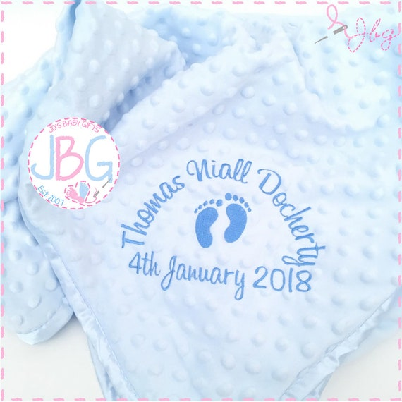 Personalised baby boys blanket, bubble embroidered baby blanket, new baby gift