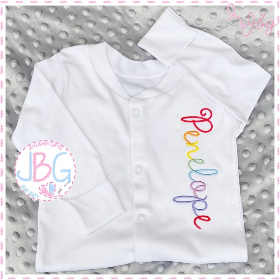 Personalised Baby Sleepsuit Rainbow writing, Embroidered all in one, any name, Fun gift for a new baby, or baby shower