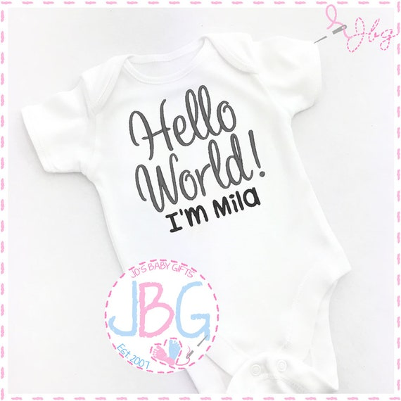 Personalised Embroidered Baby Vest/Bodysuit, 'Hello World' Embroidered design, Custom Baby Clothes, add any name, new baby gift, baby shower