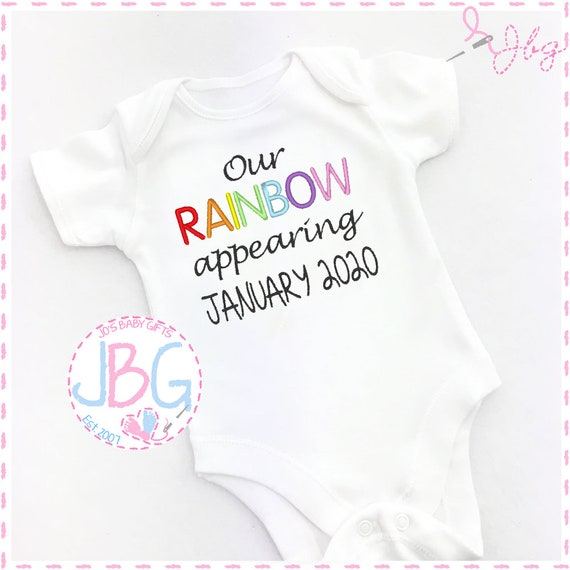 Rainbow Baby - Embroidered Pregnancy announcement Vest Onsie, Personalised month/year baby grow