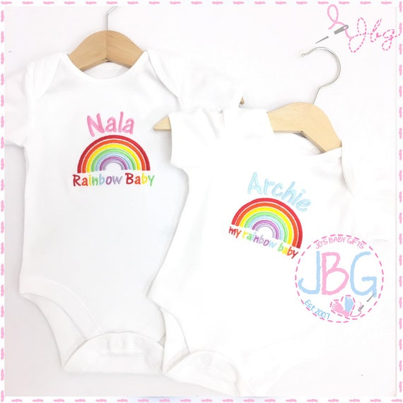 Personalised Rainbow Baby Vest Bodysuit, Embroidered Rainbow design, Unisex baby onsie clothes