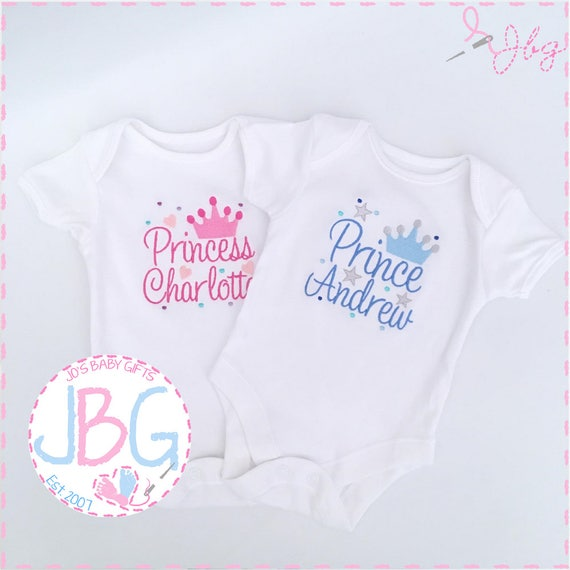 Personalised Baby Vest/Bodysuit, Prince or Princess Crown Embroidered design, Custom Baby Clothes, add any name, new baby gift, baby shower