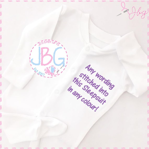 Personalised Baby Sleepsuit, Embroidered all in one, any wording, Fun gift for a new baby, or baby shower