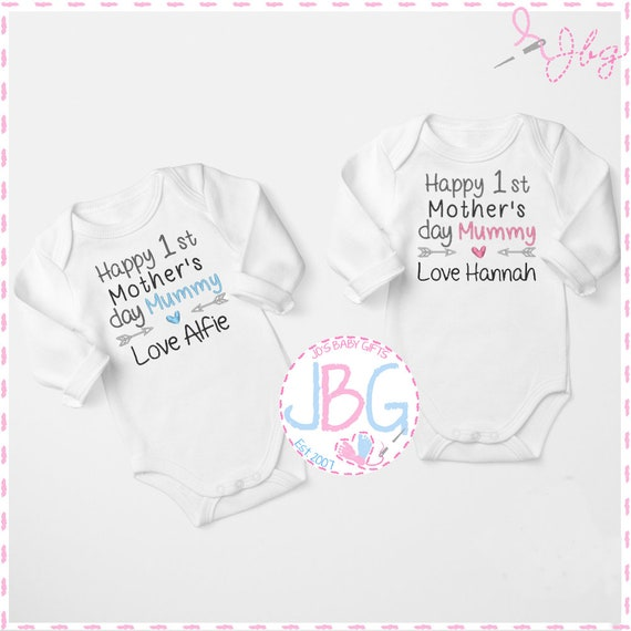 Personalised 1st Mother's Day Embroidered Baby Vest, Mother's Day Gift ,New Mummy Gifts, New Baby Gift, Baby Onsie Clothing