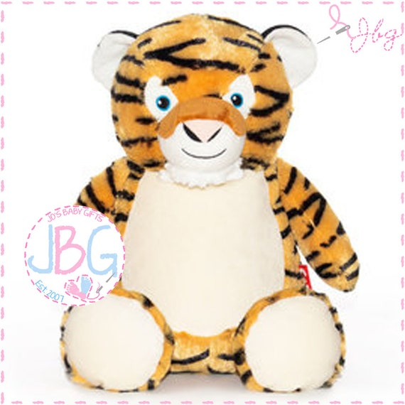 Cubbies Tiger, Personalised Embroidered Giraffe Teddy Bear, Personalised Stuffie, Great birthday gift, Signature Range