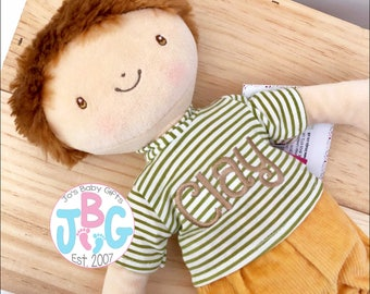 Personalised Rag Doll - Beautiful Quality Rag doll - Embroidered baby boys gift - Birthday or new baby gift - Boys Rag Doll
