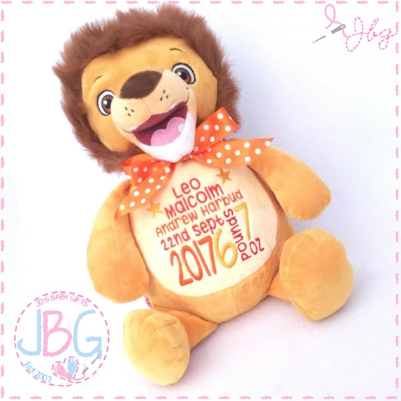 Personalised teddy bear lion, Personalised Teddies, Lion teddy, Embroidered teddy, lion bear, new baby gift, birth stats, 1st birthday gift