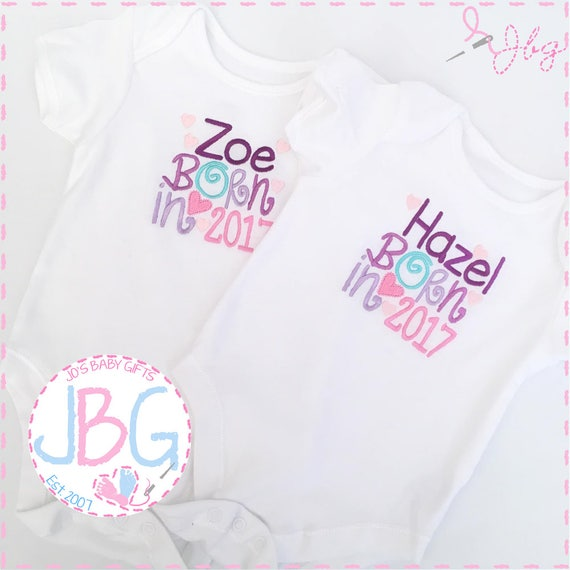 Personalised Baby Vest ,'Born 2017/2018' Embroidered text, add any wording to this vest