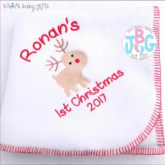 Personalised First Christmas blanket, embrodiered baby blanket, Rudolf design