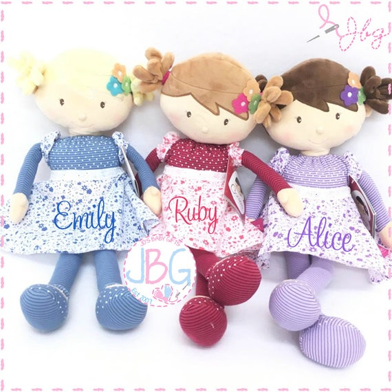Personalised Rag Doll - Beautiful Quality Rag doll - Embroidered baby girls gift - Birthday or new baby gift