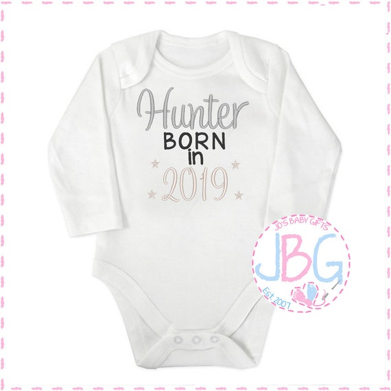 Personalised Baby 2019 Vest, Embroidered long sleeve Onsie, any wording, Fun gift for a new baby, or baby shower