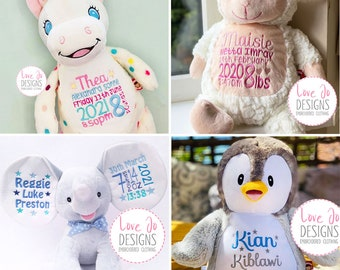 Personalised Embroidered Teddy Bears - New Baby Gifts - Birth / Christening Gifts - Birth Stats Keepsake - Cubbies