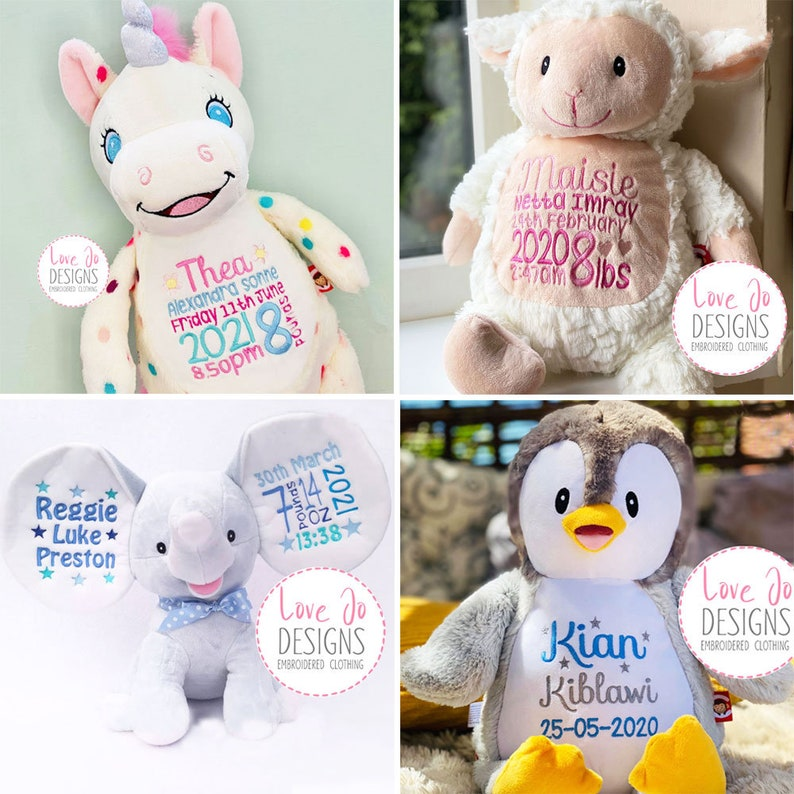 Personalised Embroidered Teddy Bears  New Baby Gifts  Birth image 1