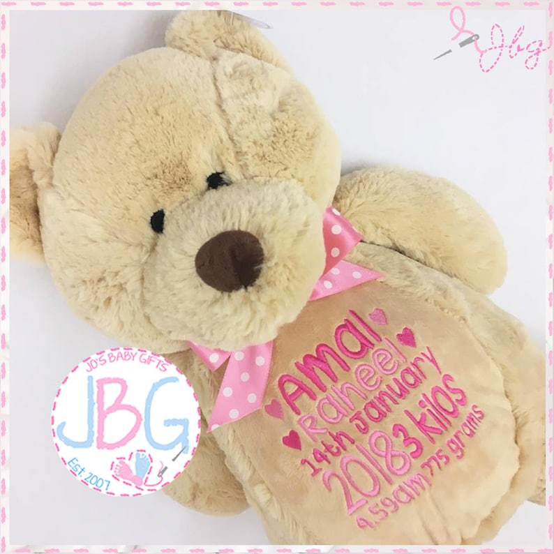 Personalised teddy bear embroidered bears personalised baby image 0