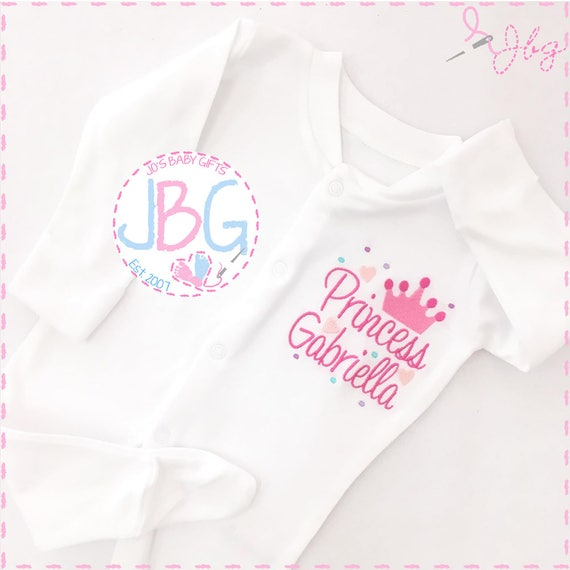 Personalised Baby Girls Sleepsuit, New Baby Girls Gift, Embroidered Crown Design, Custom Clothing.