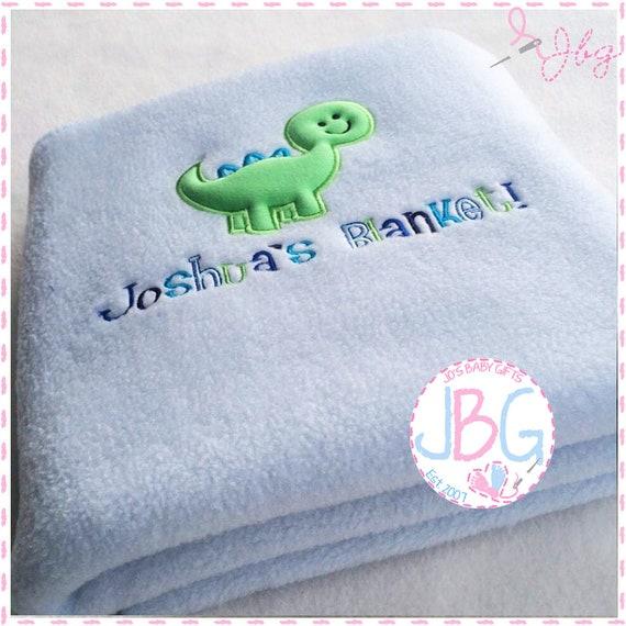 Personalised Baby Embroidered Blanket - Fleece Dinosaur Blanket - Little Boys Gift