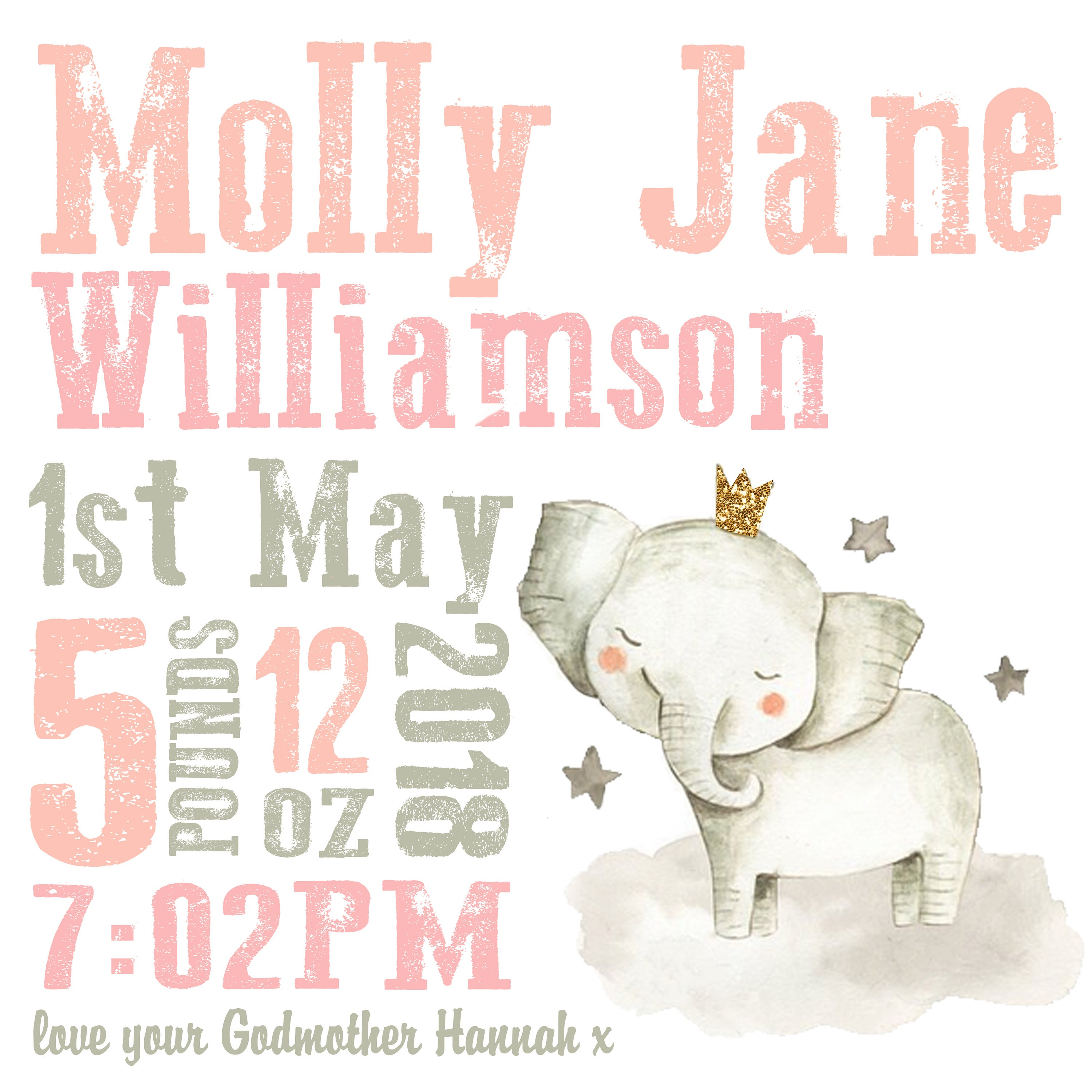 Personalised Christening Gift Birth Print Cute Elephant Picture Nursery Wall Art