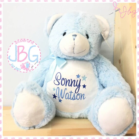 Blue  Personalised Bear - Embroidered Teddy Bear Gift - New Baby Gift Present