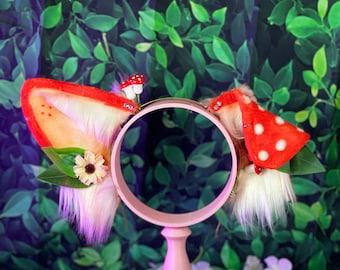 mushroom puppy dog animal ears headband cosplay MTO