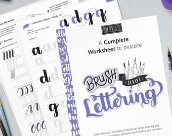 Learn brush lettering with a complete practice guide, instructions, step by step and extra bonus. Printable worksheets   Style lll Basic