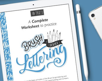 iPad brush lettering practice guide with a instruction, step by step and extra bonus   Modern calligraphy style II Cursive