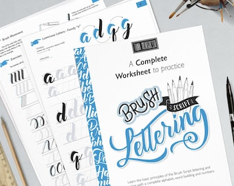 Learn brush lettering with a complete practice guide, instructions, step by step and extra bonus. Printable worksheets   Style II Cursive
