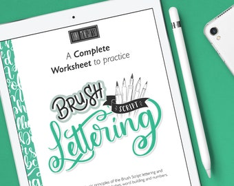 iPad brush lettering practice guide with a instruction, step by step and extra bonus   Modern calligraphy Style II Bouncing