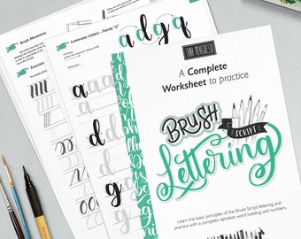 Learn brush lettering with a complete practice guide, instructions, step by step and extra bonus. Printable worksheets   Style I Bouncing