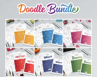 Draw doodles with a instruction and step by step worksheets, files for printing and iPad.