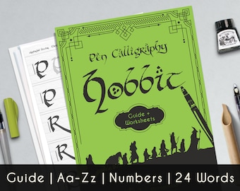 Hobbit Calligraphy printable worksheets, a complete guide Aa-Zz, numbers and 24 words of Lord Of The Rings theme.