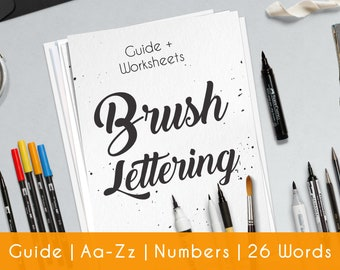 Brush Lettering | Worksheets | 33 practice sheets | guide | Beginner | Modern Hand Lettering workbook | Printable | Learn Calligraphy | B2