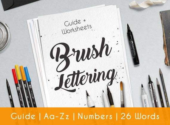 photo about Lettering Printable named Brush Hand Lettering, impressive calligraphy. Printable worksheets, in depth advisor for Newbie Structure B2