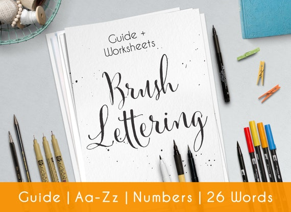 Brush Hand Lettering, Printable worksheets, complete modern calligraphy  guide for Beginner | Style B3