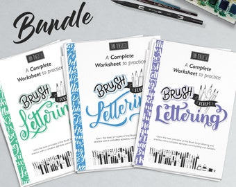 3 Brush Lettering workbook guide to practice with detailed step-by-step instruction. Over 80 pages and extra bonus. Printable worksheets.