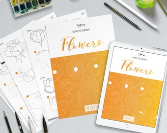 Draw Flowers with a instruction and step by step worksheets, files for printing and iPad.