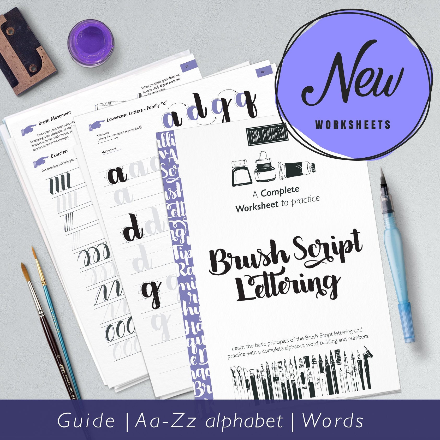 Hand Lettering printable worksheets with instruction and a complete guide,  learn Brush Script lettering | Style lll Light