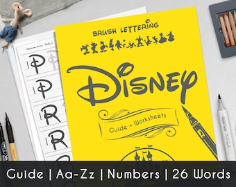 Disney Calligraphy printable worksheets, a complete guide Aa-Zz, numbers and 26 words of Walt Disney theme.